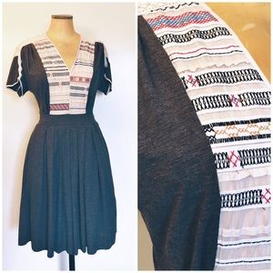 Anthropologie Tiny jersey silk embroidered dress